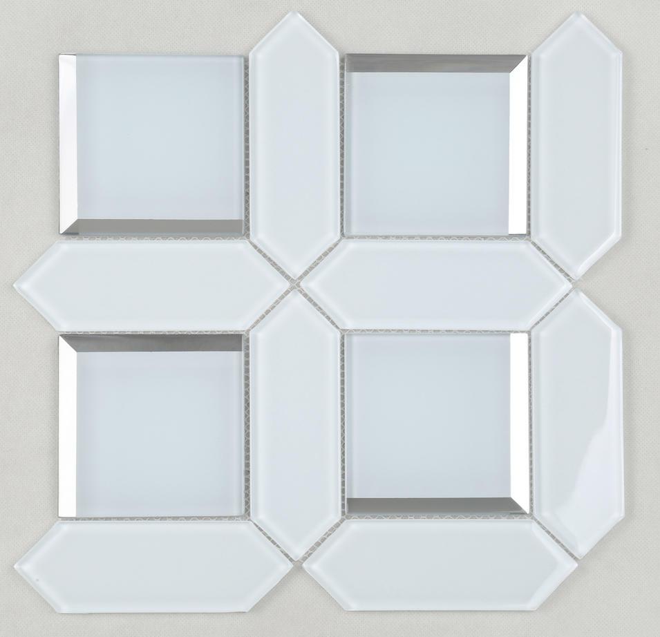 HMB124 Ultra Clear White Bevel Glass Mosaic for Bathroom, living room, wash room