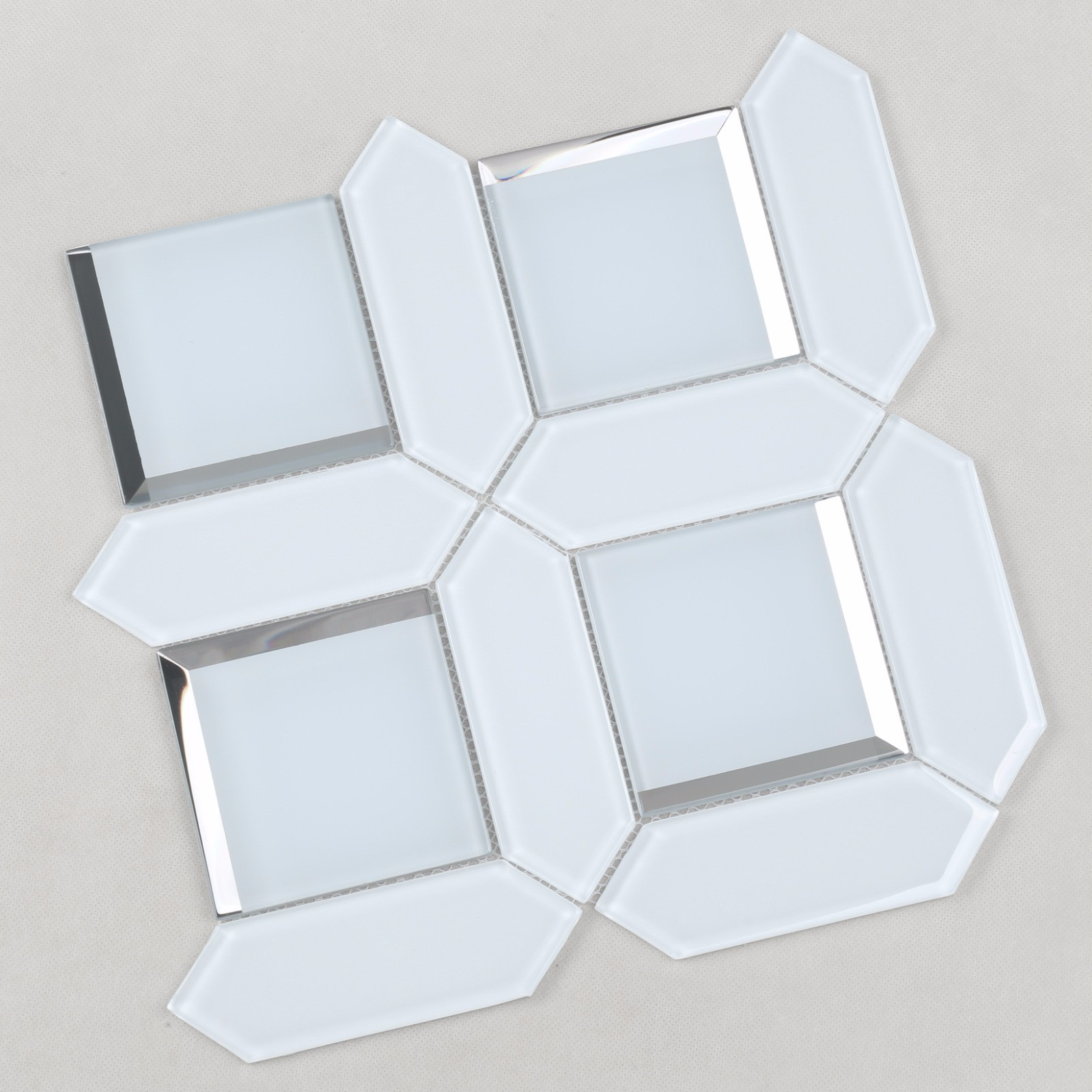 product-Heng Xing-HMB124 Ultra Clear White Bevel Glass Mosaic for Bathroom, living room, wash room-i