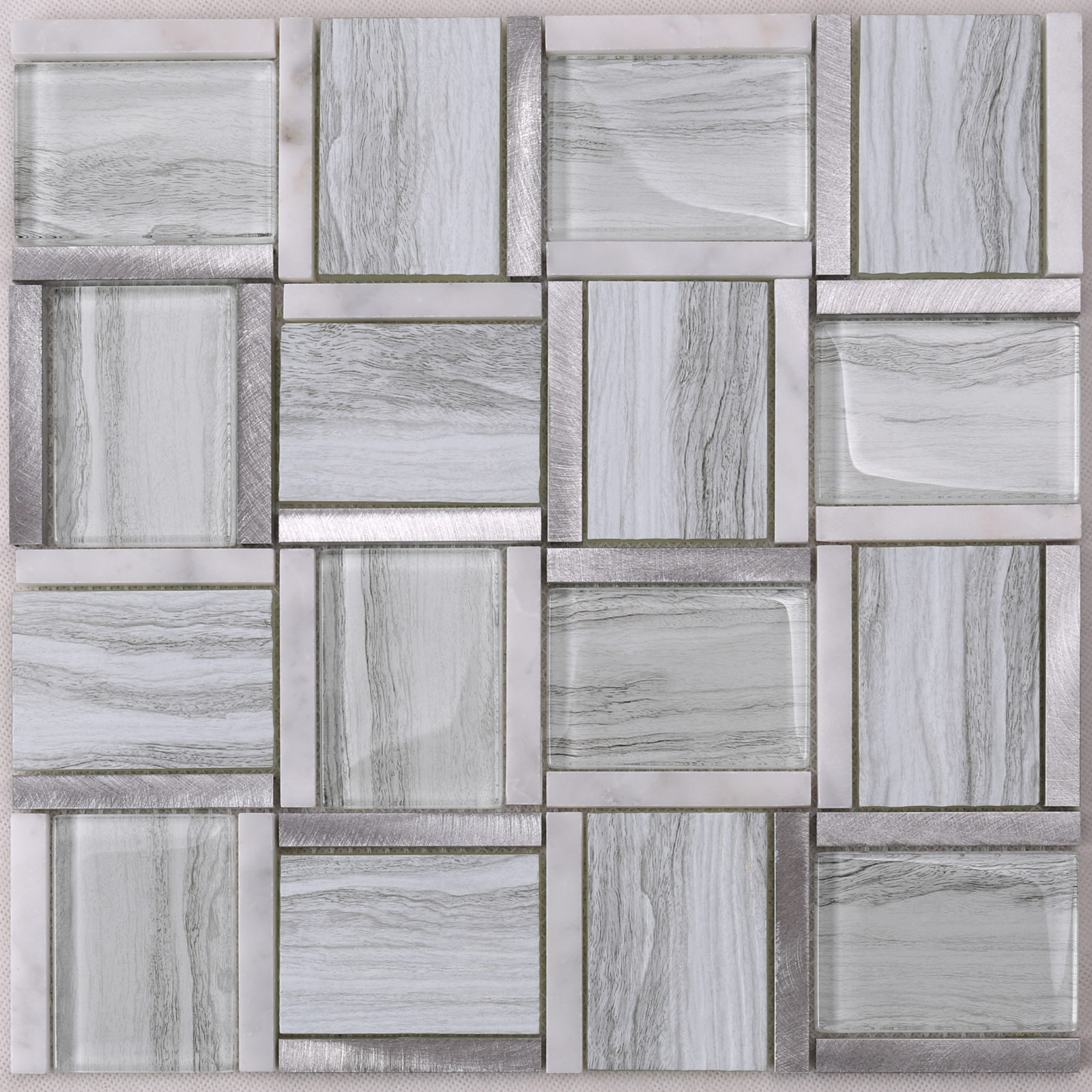 product-HYT01 Glass Mix Marble and Metal Square Mosaic Tile for kitchen, Hotel, Bar Desk Decor-Heng