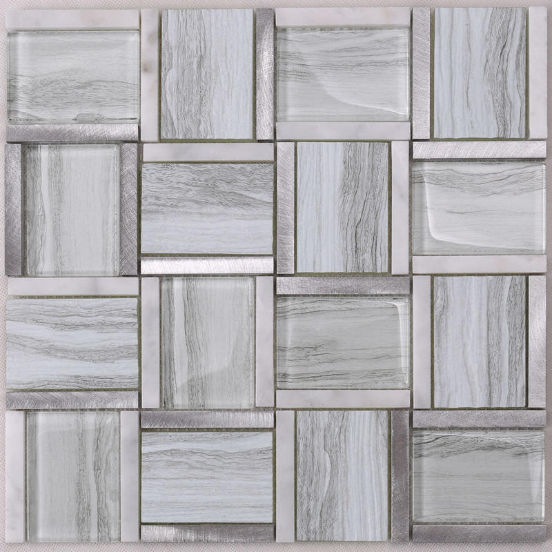 HYT01 Glass Mix Marble and Metal Square Mosaic Tile for kitchen, Hotel, Bar Desk Decor