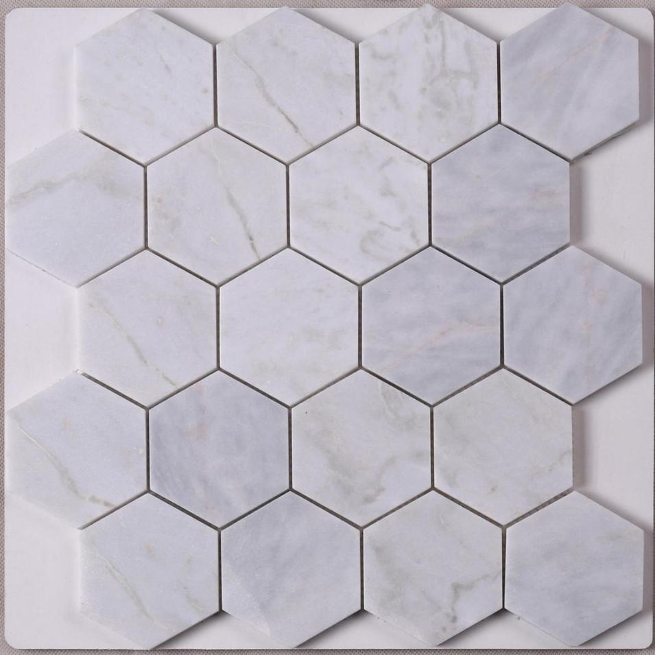 Wholesaler Hexagon Carrara White Stone Mosaic Tile Wall Decoration HSC01