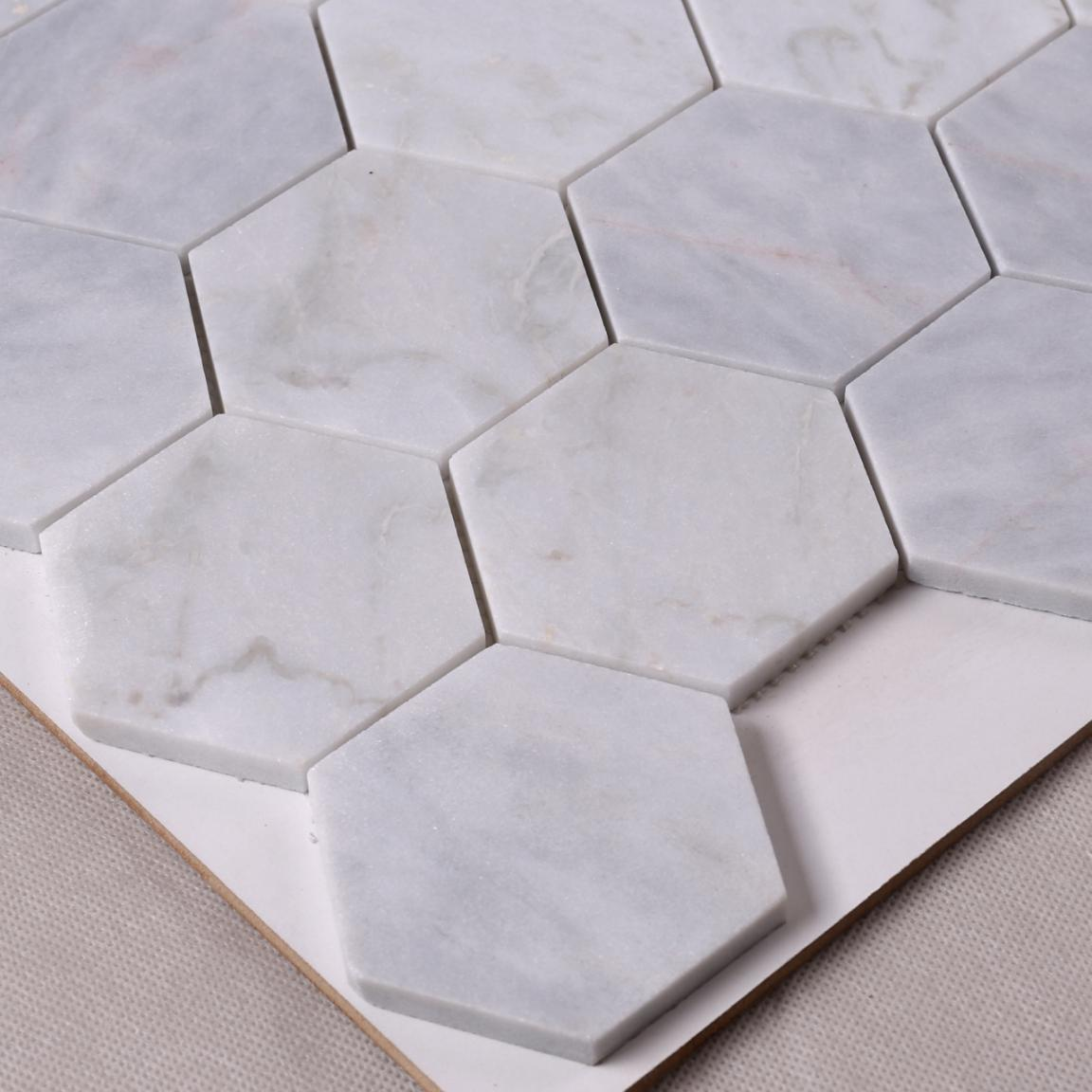 Wholesaler Hexagon Carrara White Stone Mosaic Tile Wall Decoration HSC01