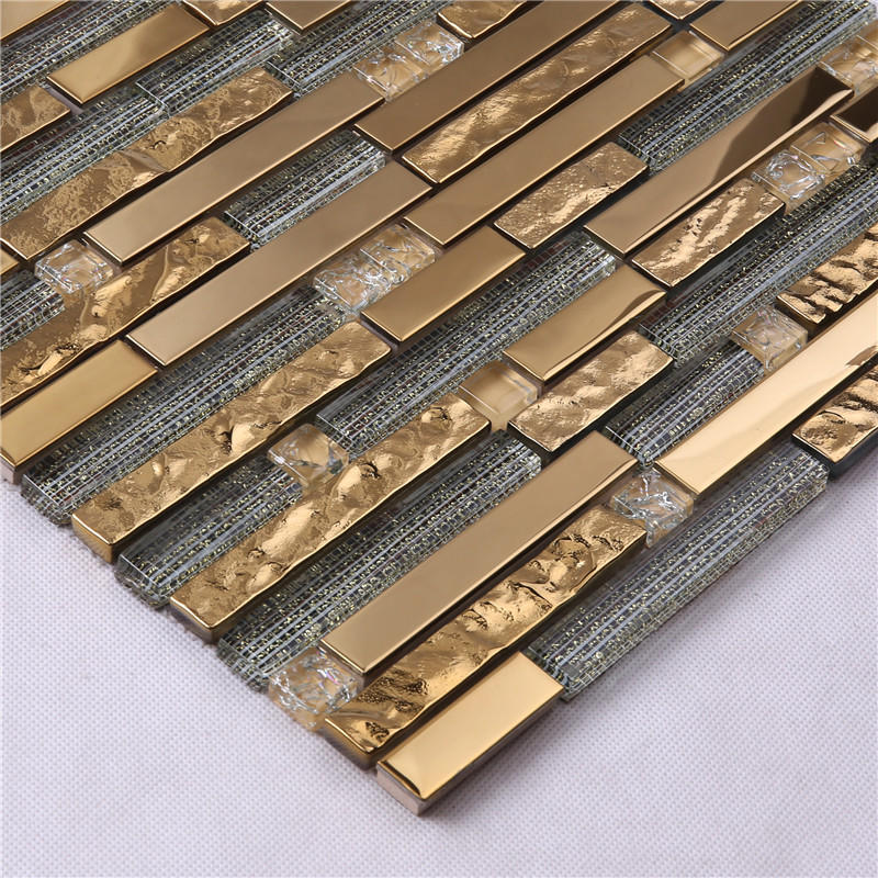 Golden Rectangle Glass Decorative Mosaic Tiles for Wall