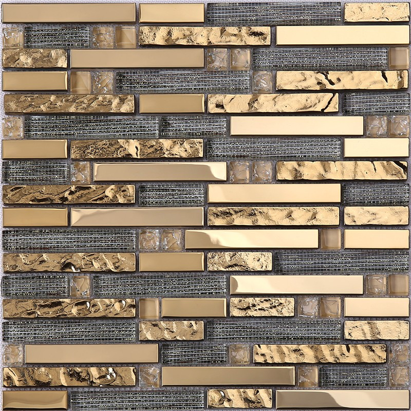 product-Golden Rectangle Glass Decorative Mosaic Tiles for Wall-Heng Xing-img