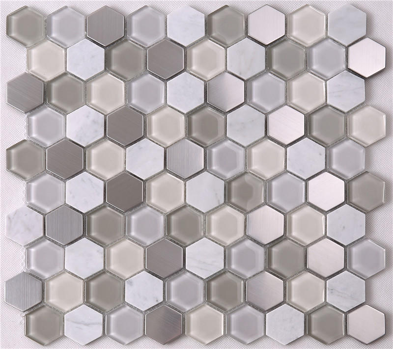 Modern Hexagon Glass Mixed Stone Mosaic Tiles HSL37