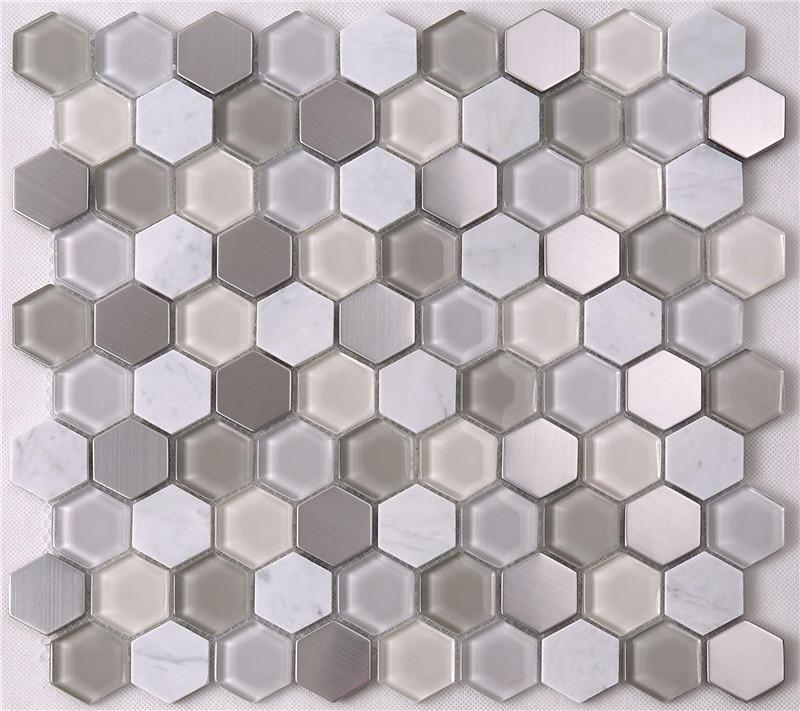 Modern Hexagon Glass Mixed Stone Mosaic Tiles HSL37