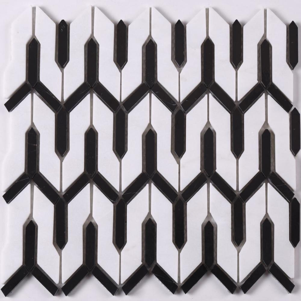 HSC165 Carrar White Mixed Black Arrow Stone Mosaic Tile for Floor Bathroom