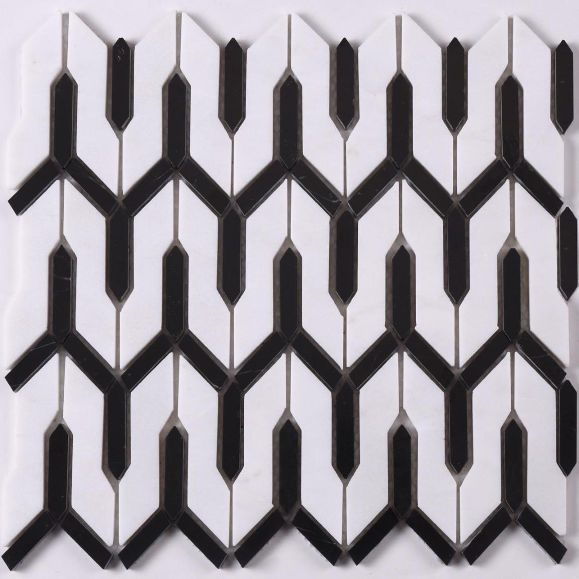 product-Heng Xing-HSC165 Carrar White Mixed Black Arrow Stone Mosaic Tile for Floor Bathroom-img