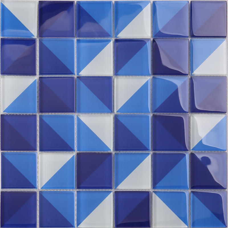 Classic Style Artistic Square Blue Glass Pattern Swimming Pool Tile HT04
