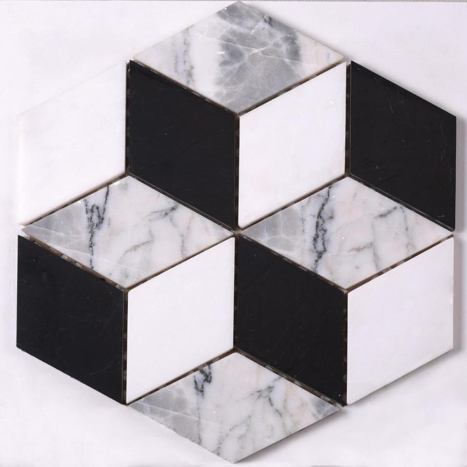 HSC115 Factory Direct Sale White Mixed Black 3d Marble Mosaic Floor Tile