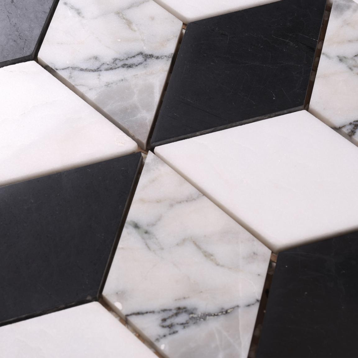 HSC115 Factory Direct Sale White Mixed Black 3d Marble Mosaic Floor Tile