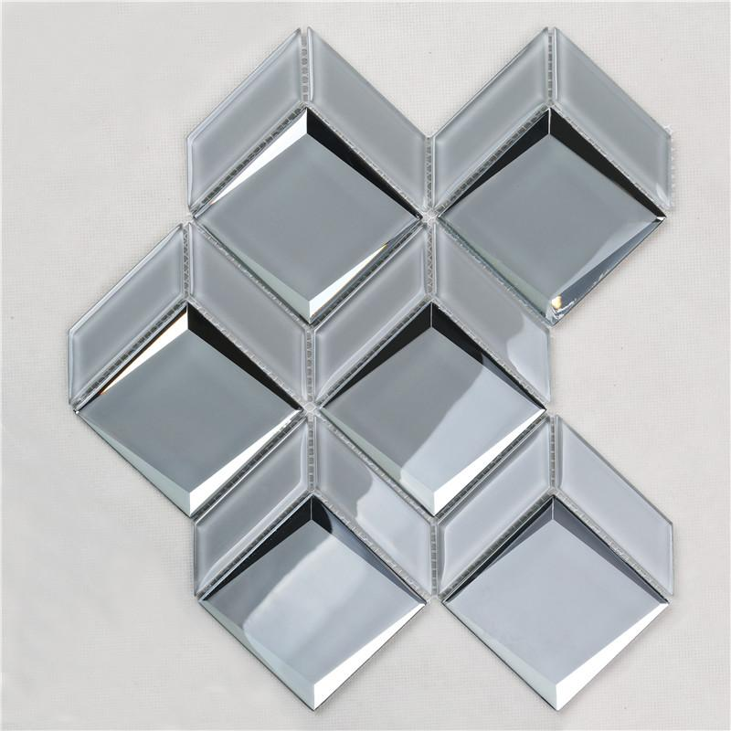 product-Newest Arrival Luxurious Gray Bevel Glass Mosaic For wall HMB172-Heng Xing-img
