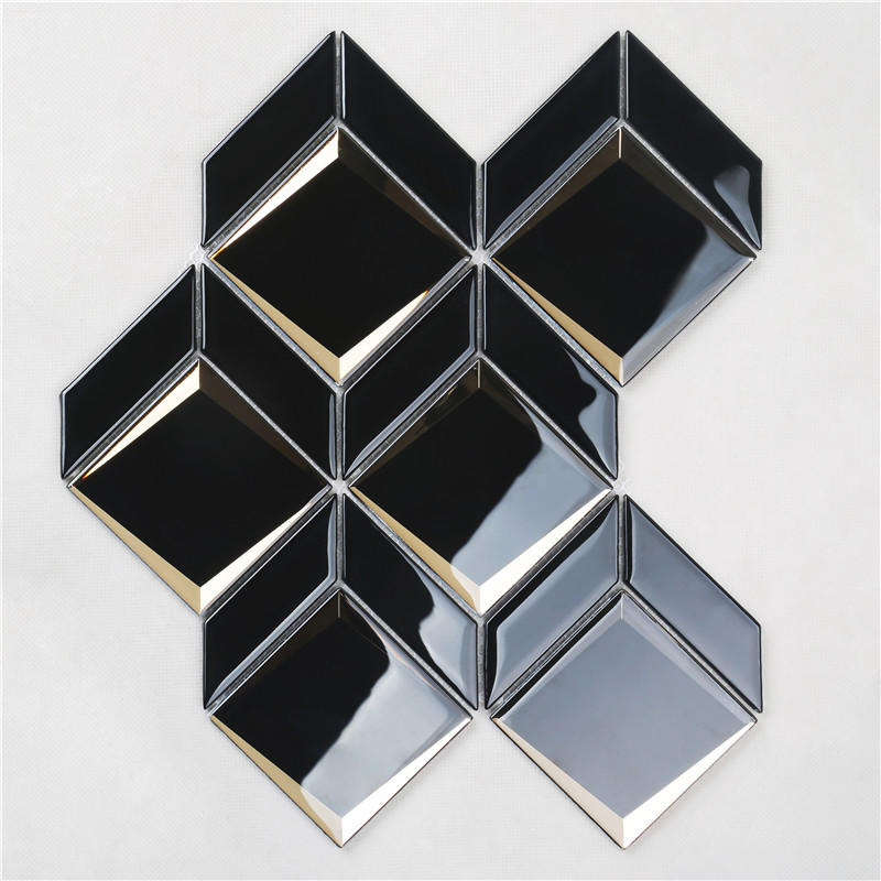 Newest Arrival Luxurious Black Bevel Glass Mosaic For wall HMB177