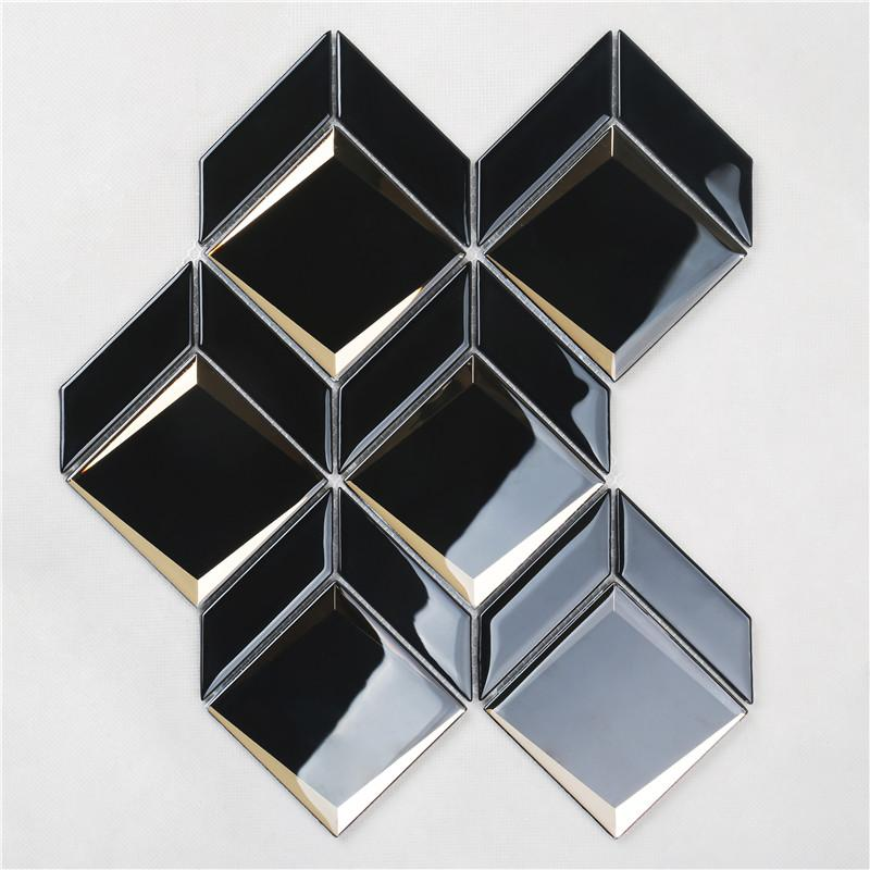 product-Newest Arrival Luxurious Black Bevel Glass Mosaic For wall HMB177-Heng Xing-img