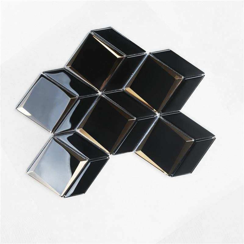 product-Heng Xing-Newest Arrival Luxurious Black Bevel Glass Mosaic For wall HMB177-img