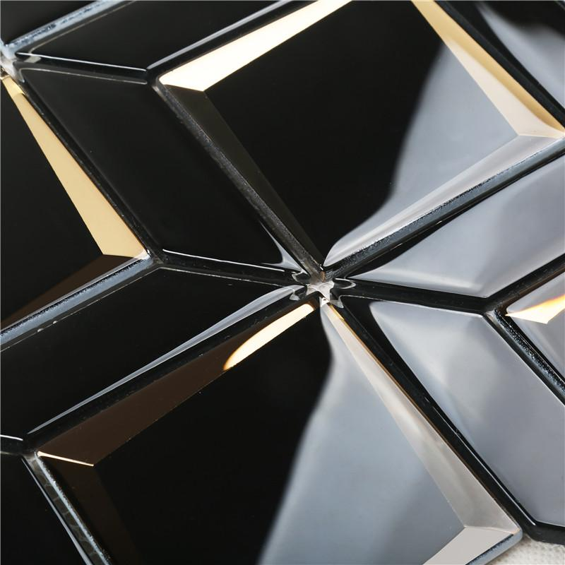 product-Newest Arrival Luxurious Black Bevel Glass Mosaic For wall HMB177-Heng Xing-img-1