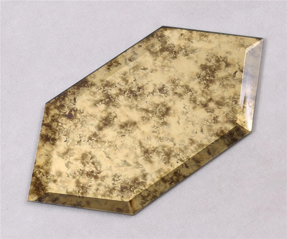 HFG07 Antique Glass Mosaic Tile Brown Hexagon backsplash Wall Decor Tile
