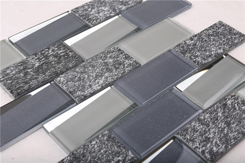 HMB03 Glass Mix Marble Mosaic Tile Grey Top Quality Kitchen Backsplash