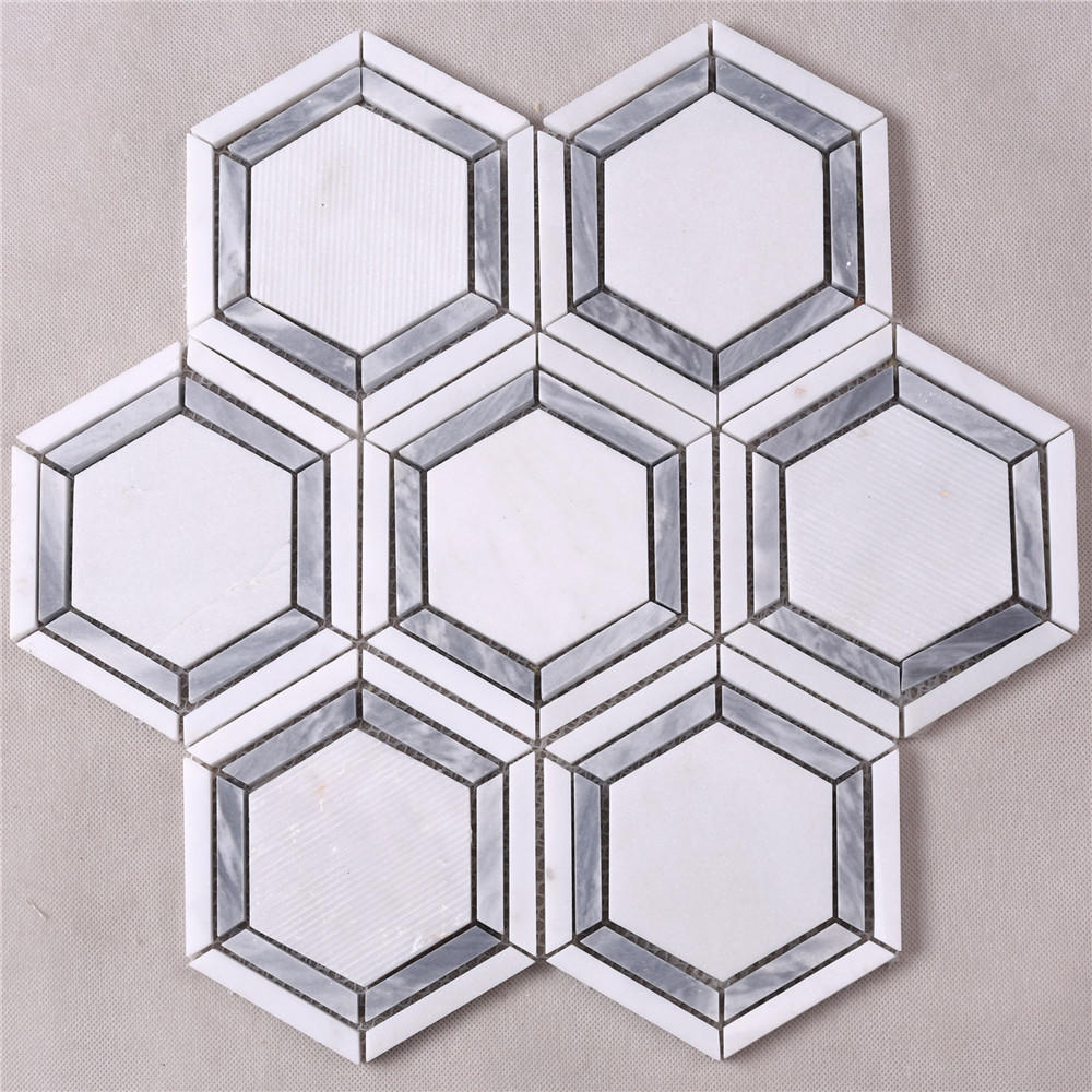 Hexagon White Mixed Gray Strip Marble Mosaic Tile HSC79