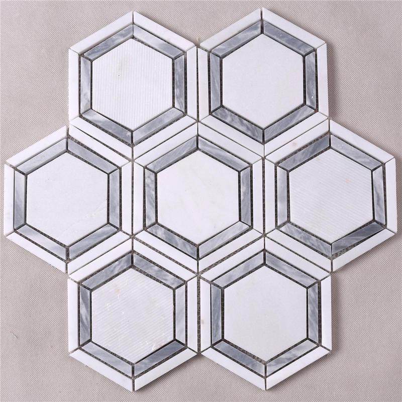 Hexagon White Mixed Gray Strip Marble Mosaic Tile HSC79