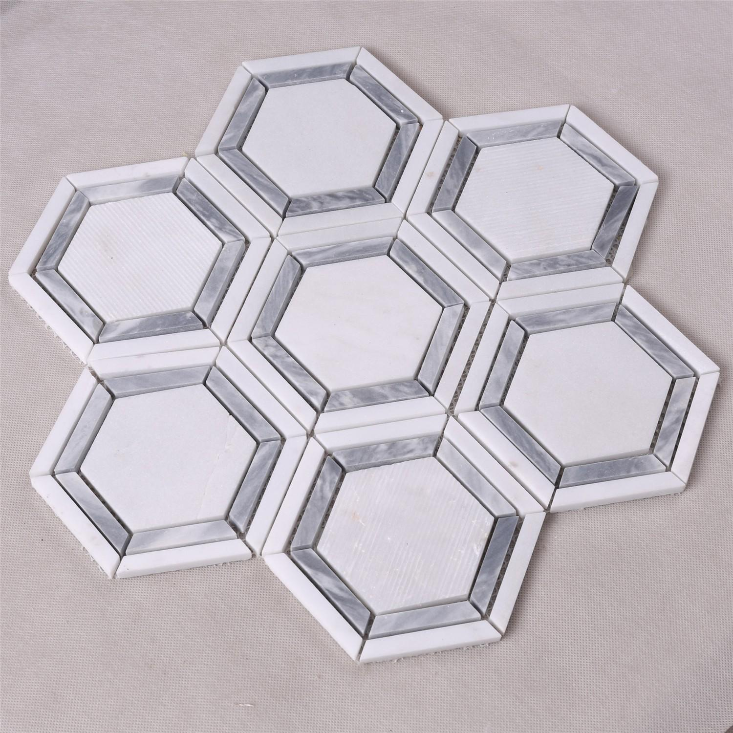 product-Heng Xing-hexagon marble mosaic mosaic tile marble mosaic tile-img