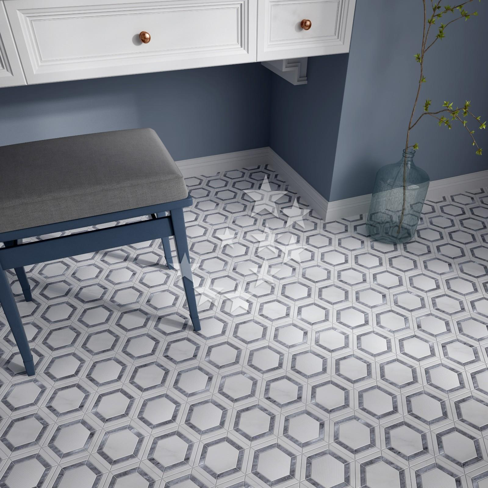 Heng Xing hexagon blue grey mosaic tiles Suppliers for kitchen-6