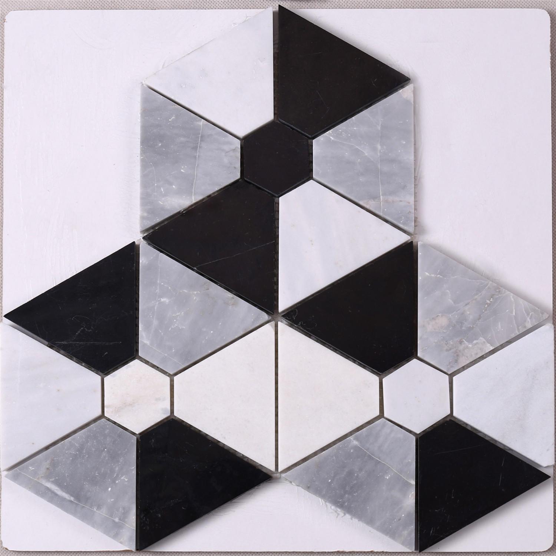 Hexagon Combination Shape White Mixed Black Stone Mosaic Floor Tile