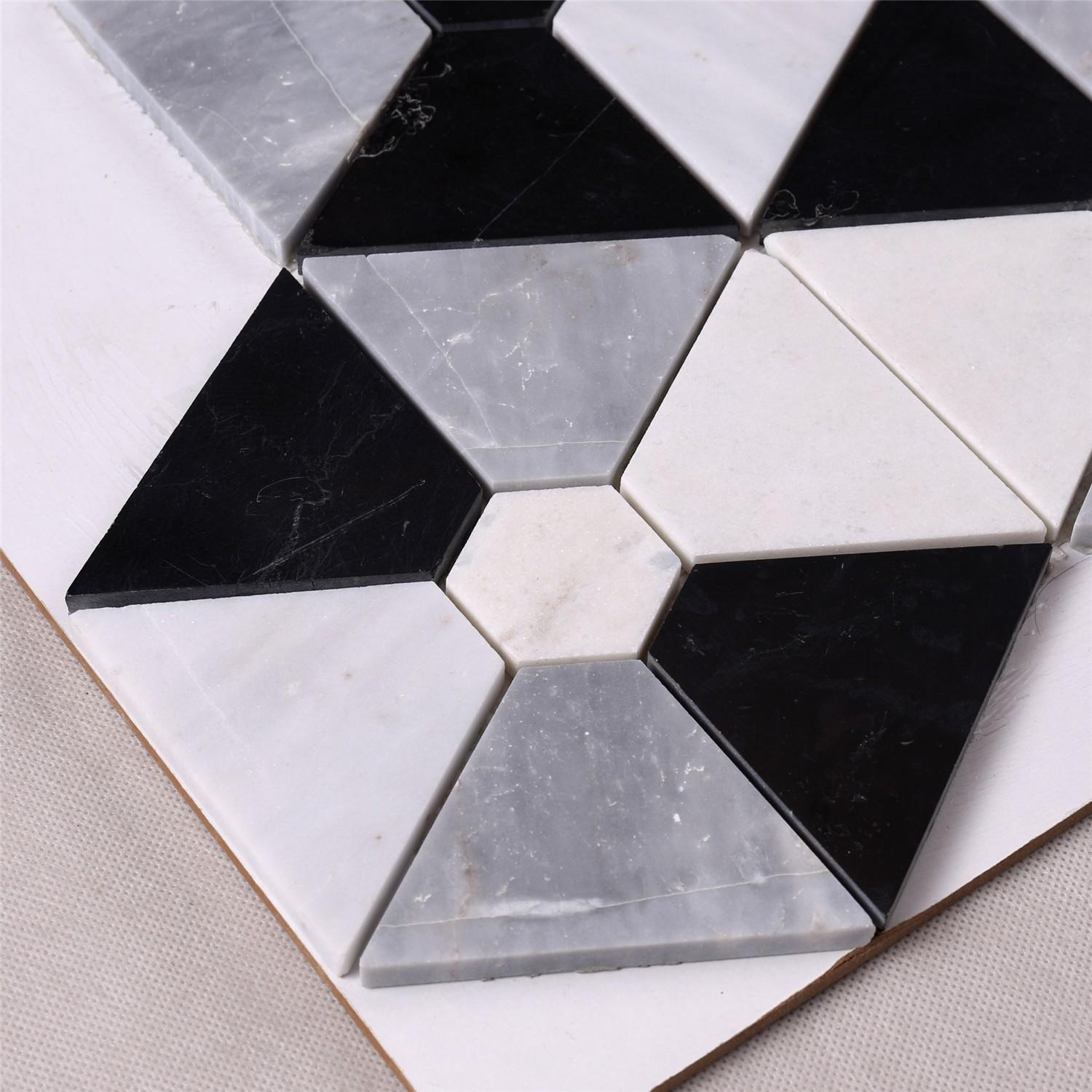 product-Hexagon Combination Shape White Mixed Black Stone Mosaic Floor Tile-Heng Xing-img