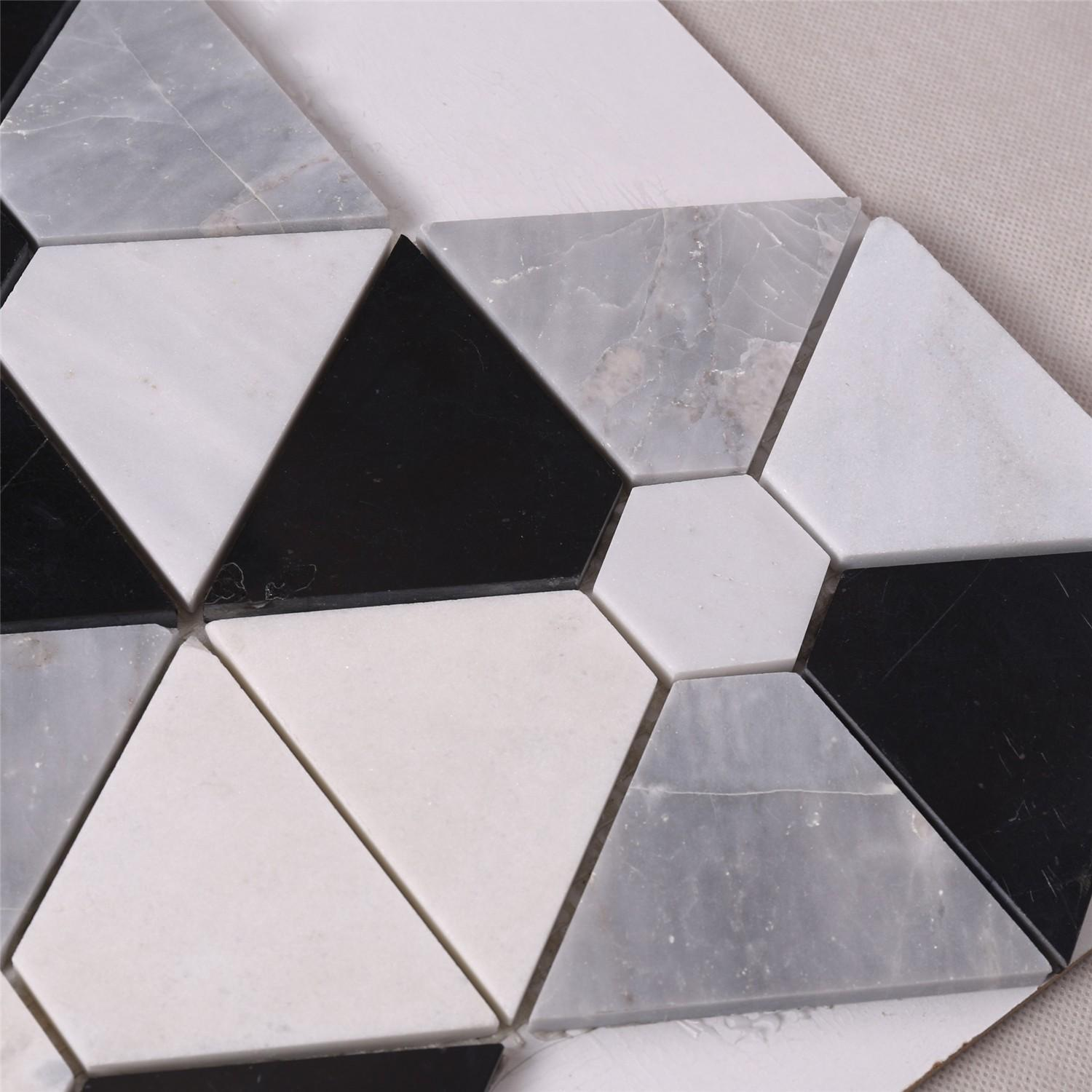 product-Heng Xing-Hexagon Combination Shape White Mixed Black Stone Mosaic Floor Tile-img