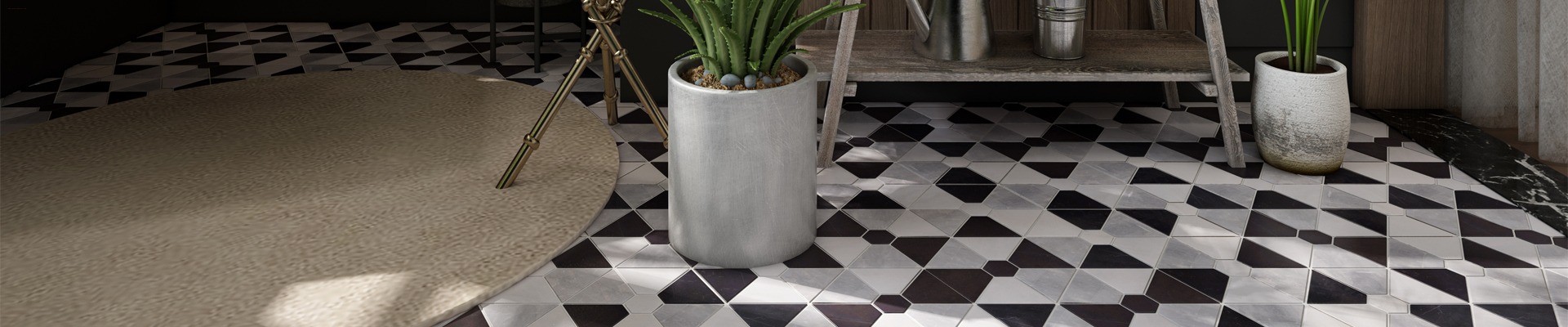 Heng Xing-Hexagon Combination Shape White Mixed Black Stone Mosaic Floor Tile
