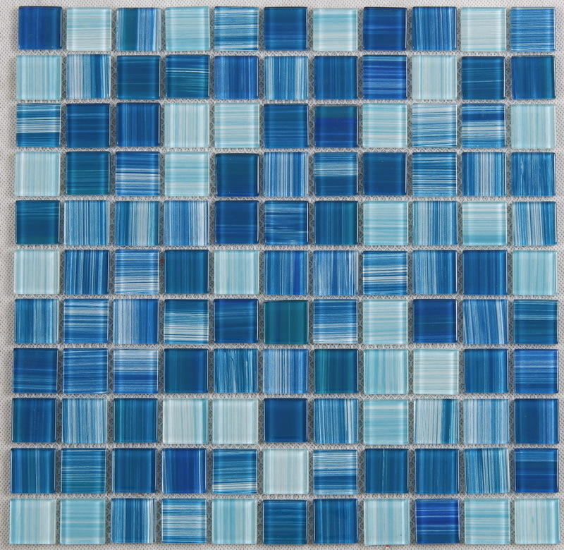 Hand Painted Blue Water Pool Mosaics Glass Tile Supplier 4CSB33