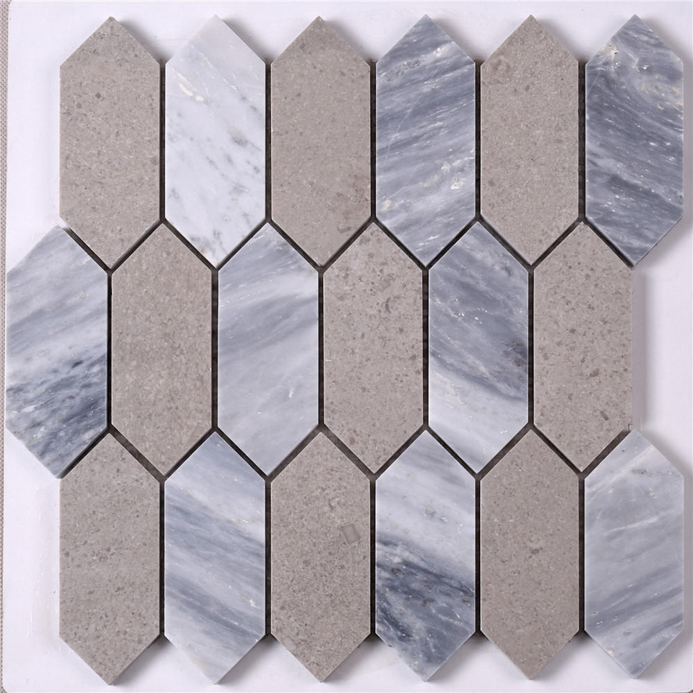HSC48 Brown Mixed Gray Arrow Stone Mosaic Floor Tile