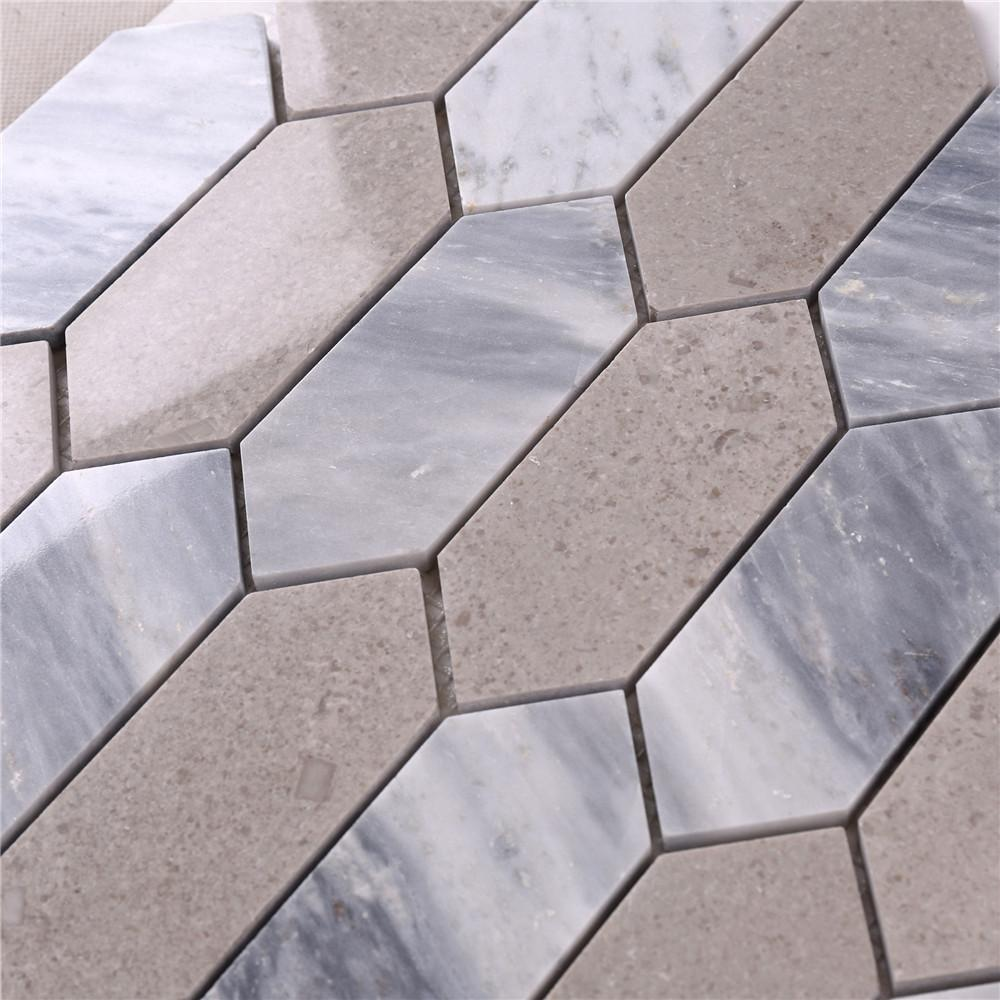 product-HSC48 Brown Mixed Gray Arrow Stone Mosaic Floor Tile-Heng Xing-img
