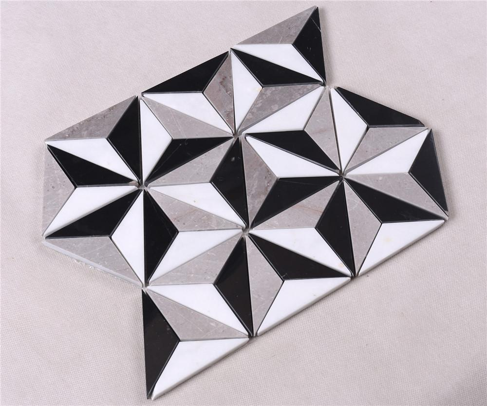 product-Heng Xing-Classic White Mixed Black Stone Marble Backsplash Mosaic Floor Tile HSC89-img