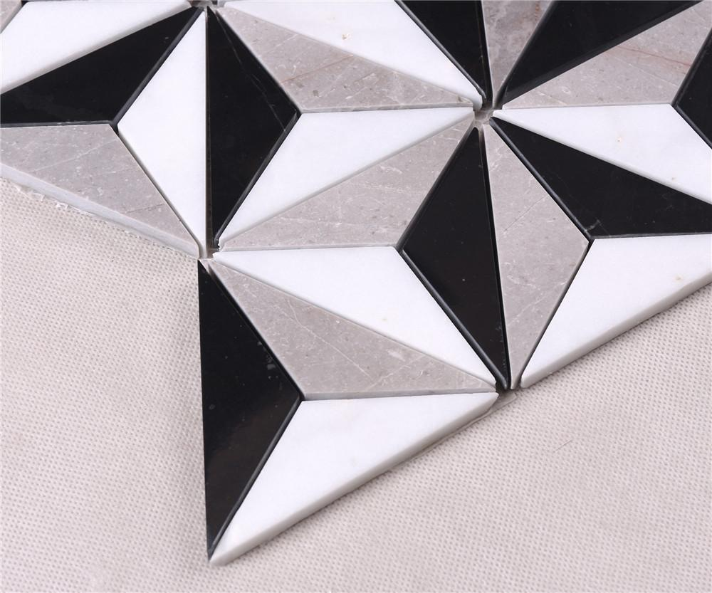 product-Classic White Mixed Black Stone Marble Backsplash Mosaic Floor Tile HSC89-Heng Xing-img