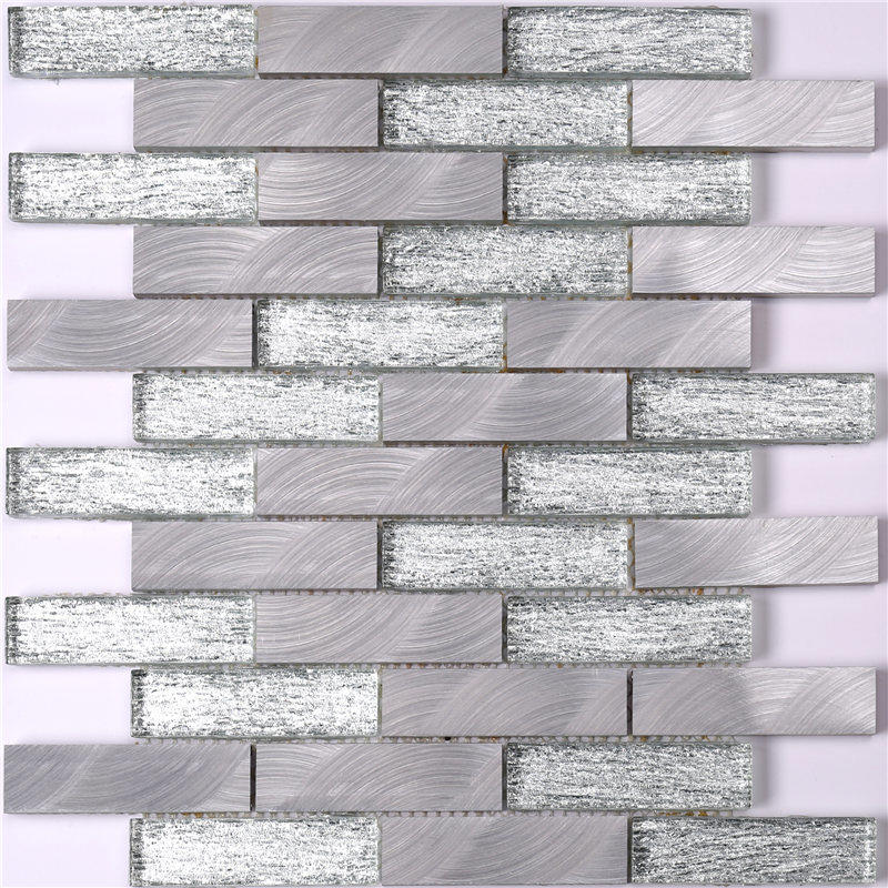 Grey Glass and Alu Mosaic Wall Tiles for Kitchen
