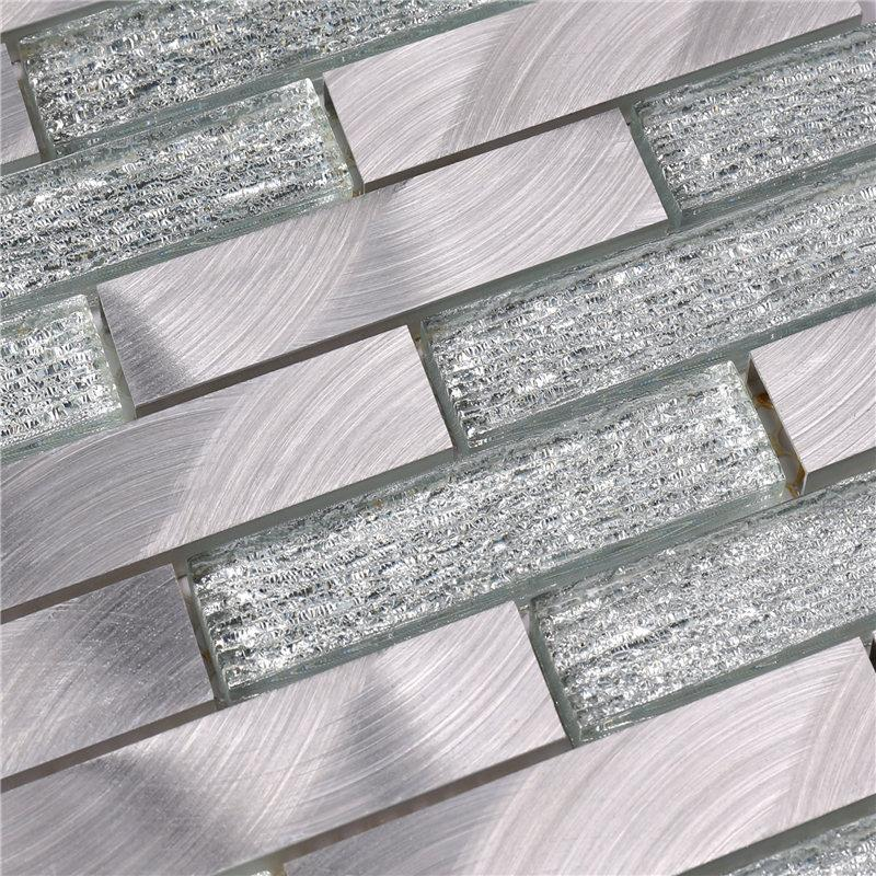 product-Grey Glass and Alu Mosaic Wall Tiles for Kitchen-Heng Xing-img