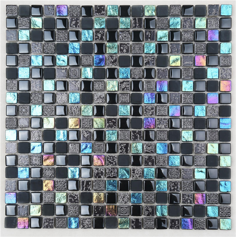 Black Square Shape Iridescent Simple Style Glass Mosaic For Wall