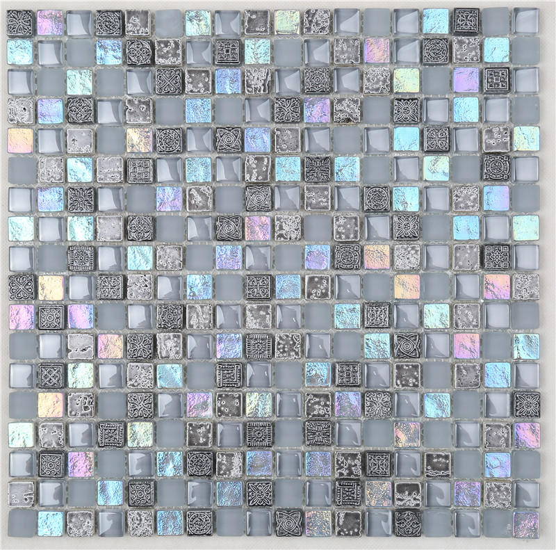 Gray Iridescent Square Shape Classic Glass Mosaic Tiles For Decoration