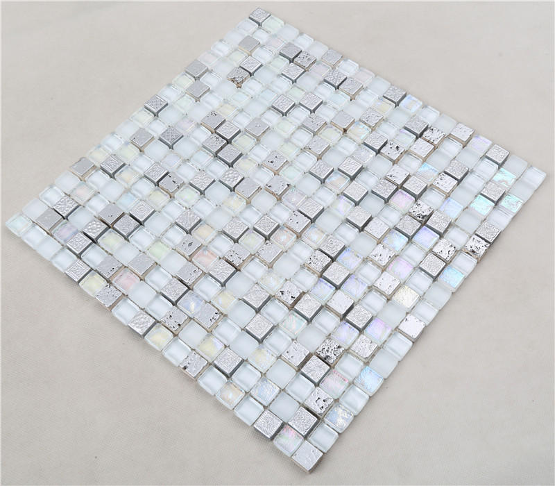 Super White Iridescent Eletrocplating Glass Mosaic For Bathroom Wall