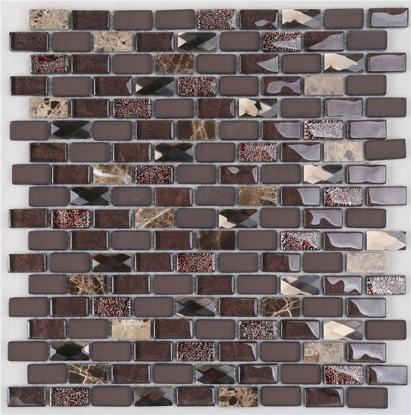 Brown Iridescent Glass Mix Stone Mosaic Tiles For Interior Decoration