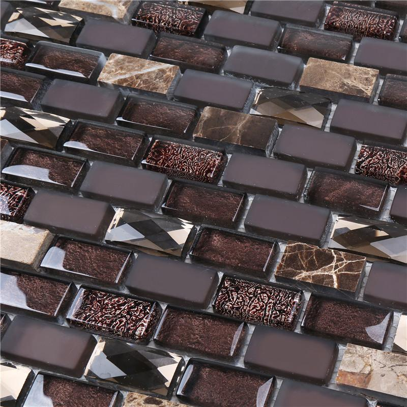 product-Heng Xing-Brown Iridescent Glass Mix Stone Mosaic Tiles For Interior Decoration-img