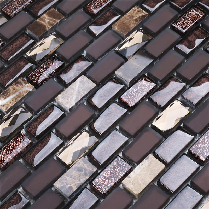 product-Brown Iridescent Glass Mix Stone Mosaic Tiles For Interior Decoration-Heng Xing-img