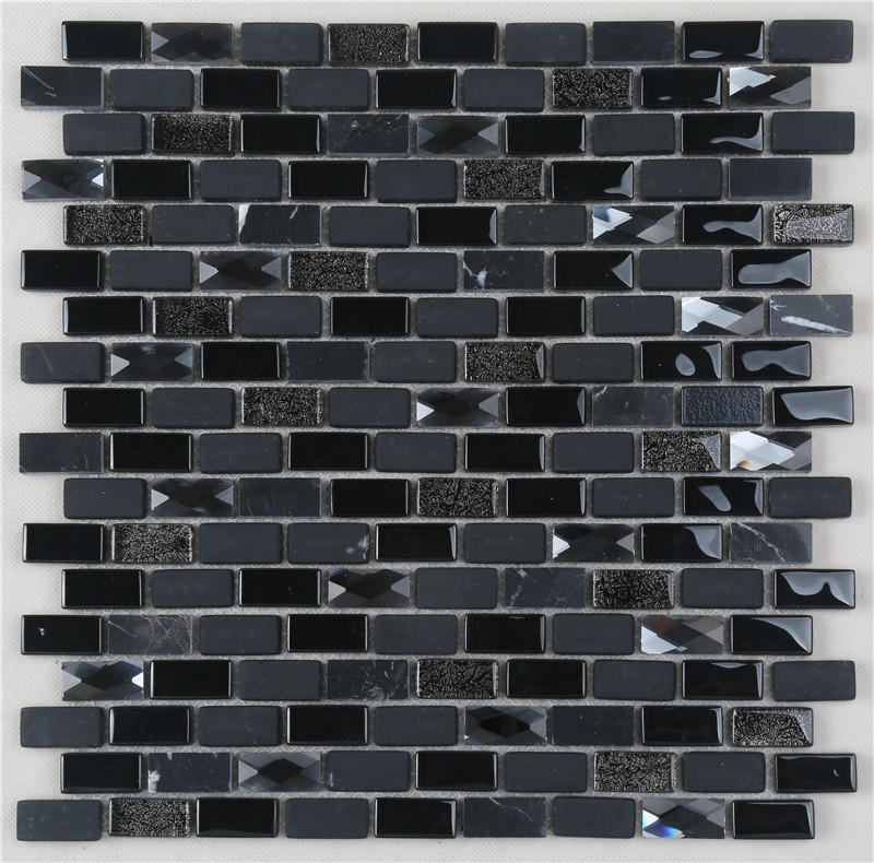 Black Iridescent Diamond Surface Glass Mix Stone Mosaic Tiles For Decoration