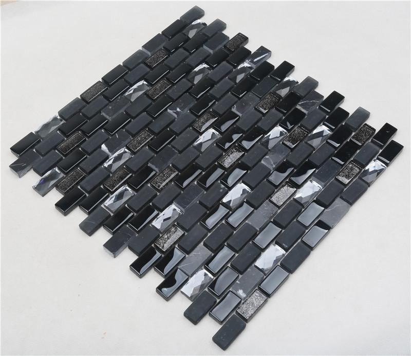 product-Heng Xing-Black Iridescent Diamond Surface Glass Mix Stone Mosaic Tiles For Decoration-img