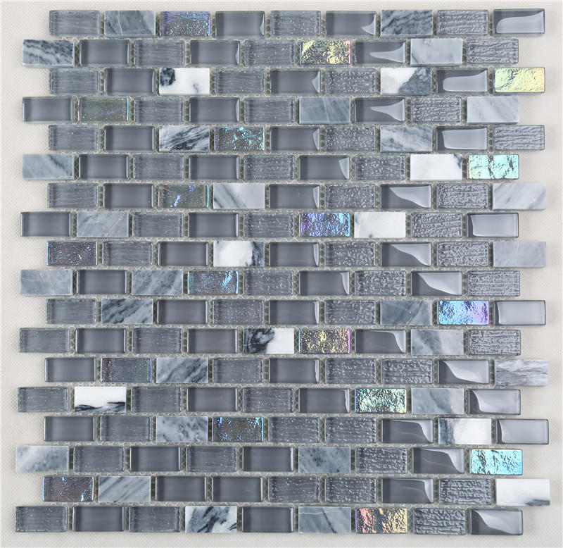 Gray Iridescent 15*30 Electroplating Glass Mix Stone Mosaic TIles