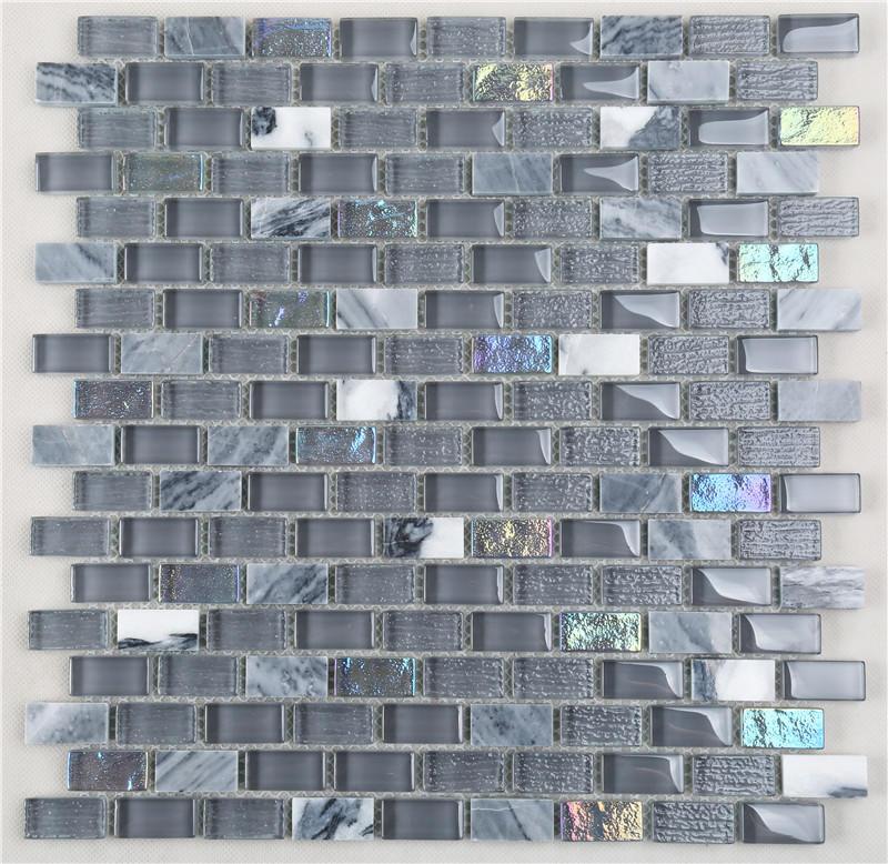 Gray Iridescent 15*30 Electroplating Glass Mix Stone Mosaic TIles