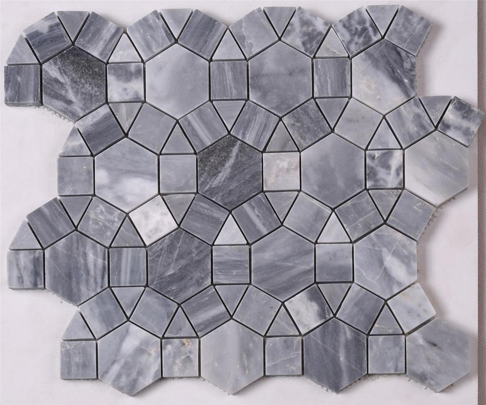 Dark Gray Round Shape Marble Mosaic Tile for Floor HSC32