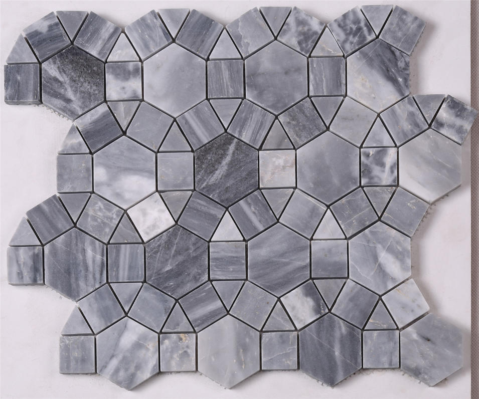 Dark Gray Round Shape Marble Mosaic Tile for Floor HSC32