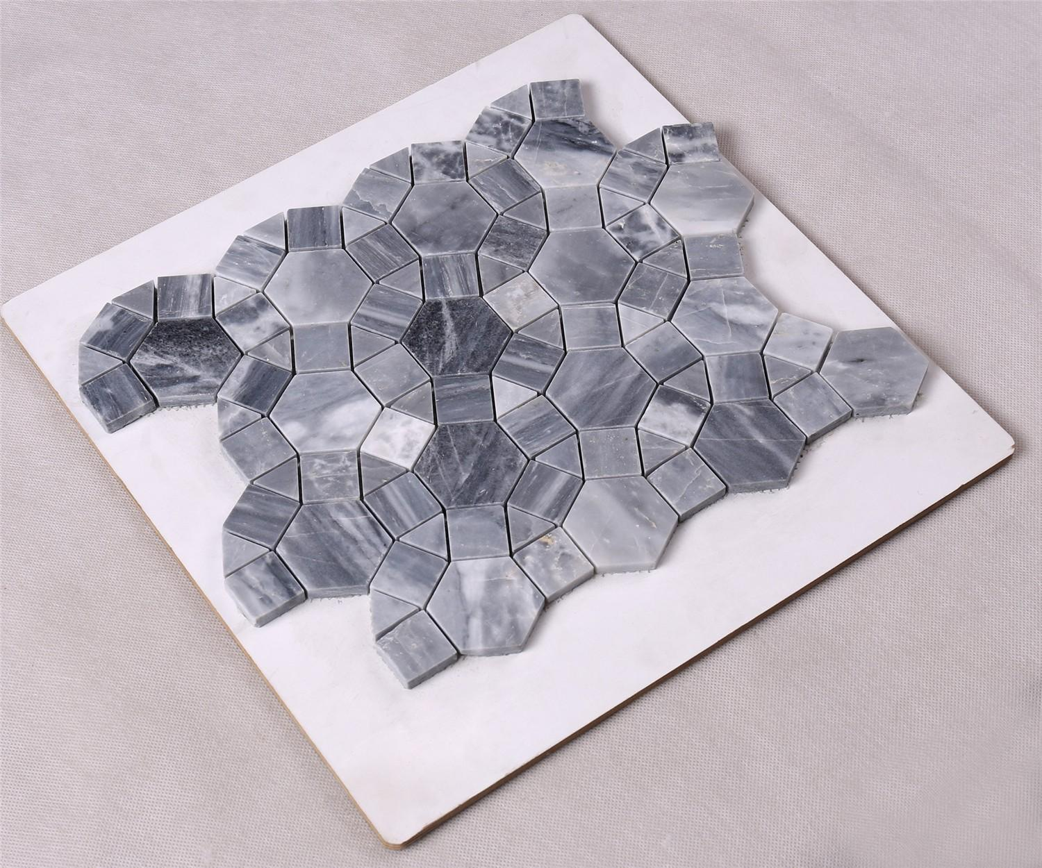 product-Dark Gray Round Shape Marble Mosaic Tile for Floor HSC32-Heng Xing-img